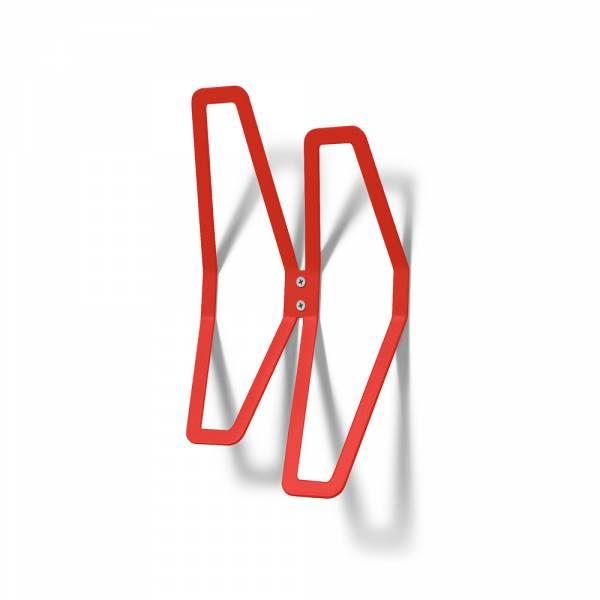 Nástenný dizajnový vešiak dvojitý, červený