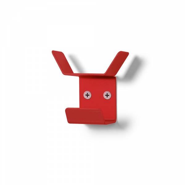 Nástenný vešiak mini, trojitý, červený