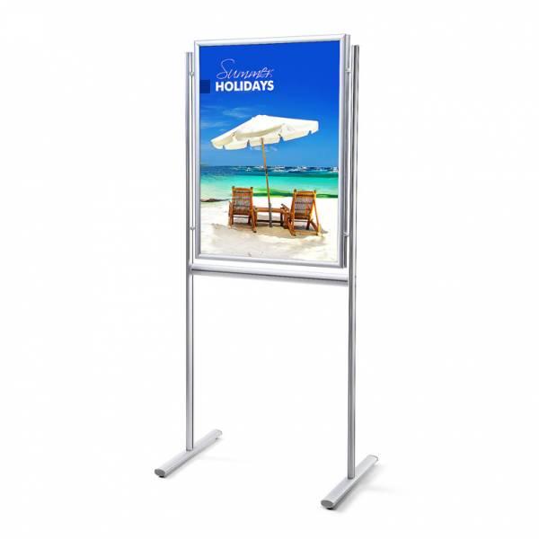 Informačný stojan Infoboard s klaprámom 70x100, ostrý roh, profil 25mm, obojstranný