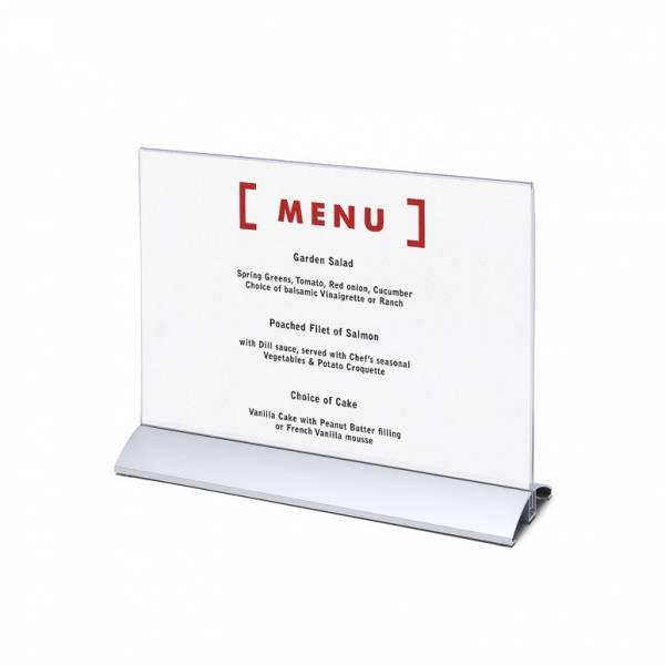 Elegantný menu stojanček na leták A4 na šírku