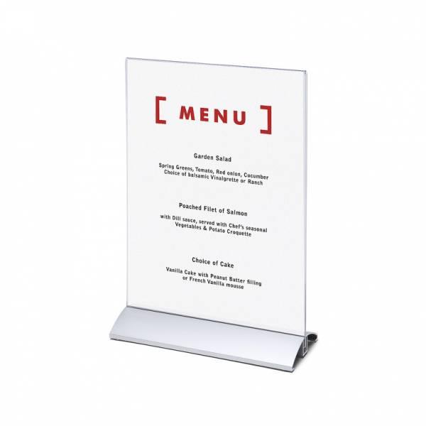 Elegantný menu stojanček na leták A4 na výšku