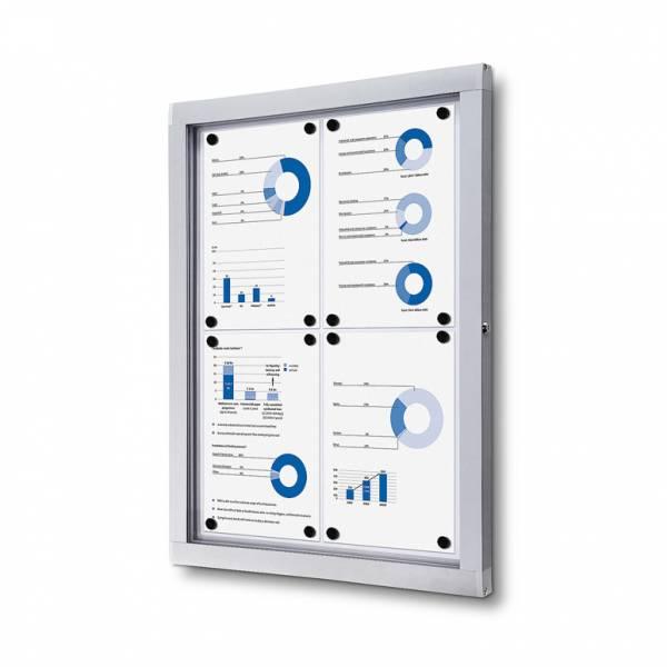 Informačná vitrína 4xA4, plechová zadná stena