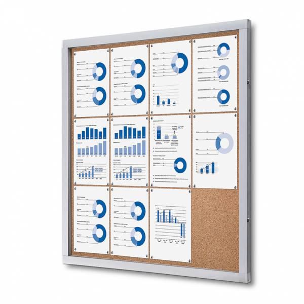 Informačná vitrína 12xA4, korková zadná stena