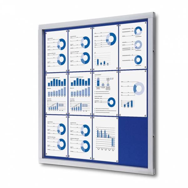 Informačná vitrína 12xA4, modrá textilná zadná stena