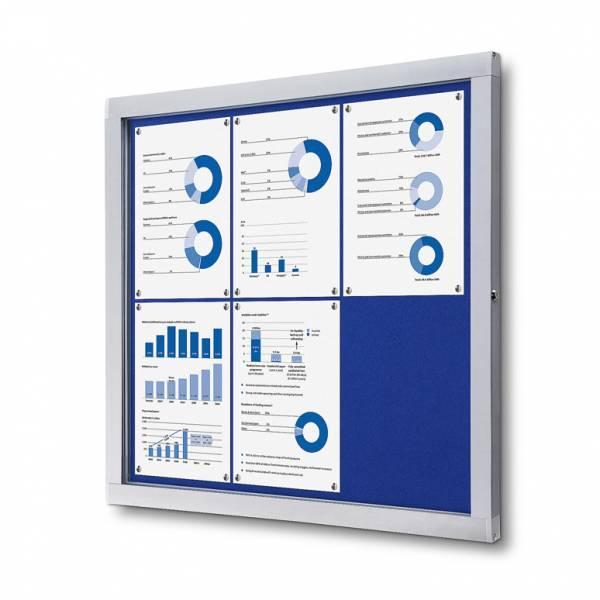 Informačná vitrína 6xA4, modrá textilná zadná stena
