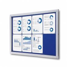 Informačná vitrína 8xA4, modrá textilná zadná stena