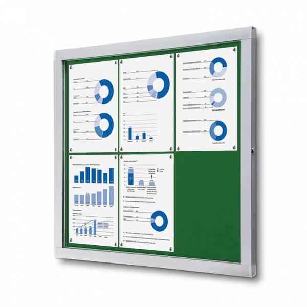 Informačná vitrína 6xA4, zelená textilná zadná stena