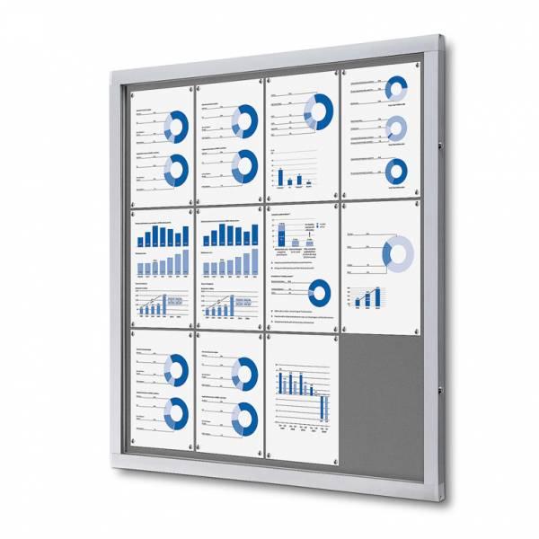 Informačná vitrína 12xA4, sivá textilná zadná stena