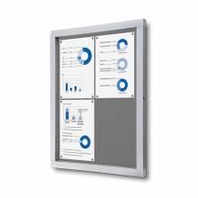 Informačná vitrína 4xA4, sivá textilná zadná stena
