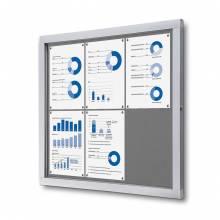 Informačná vitrína 6xA4, sivá textilná zadná stena