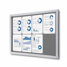 Informačná vitrína 8xA4, sivá textilná zadná stena