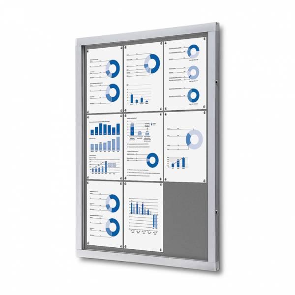 Informačná vitrína 9xA4, sivá textilná zadná stena