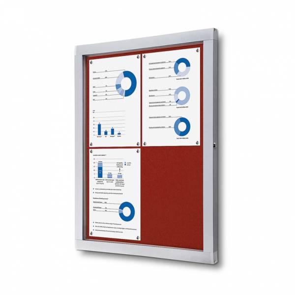 Informačná vitrína 4xA4, červená textilná zadná stena