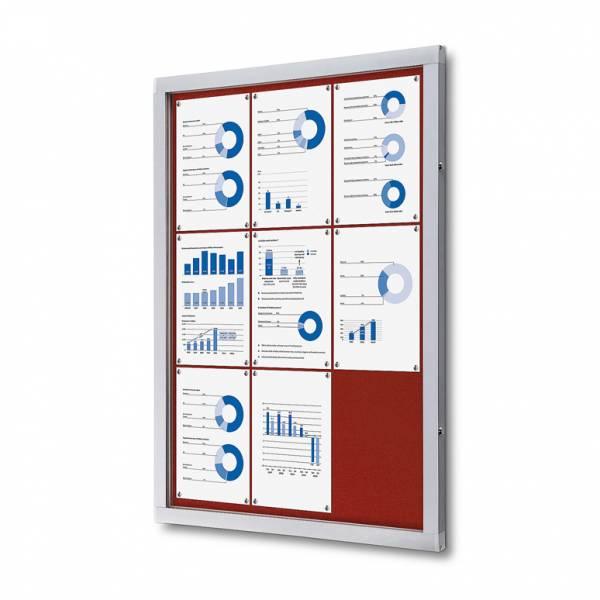 Informačná vitrína 9xA4, červená textilná zadná stena