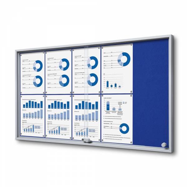 Interiérová vitrína 10xA4 SLIM, posuvné dvere, filcová zadná stena modrá