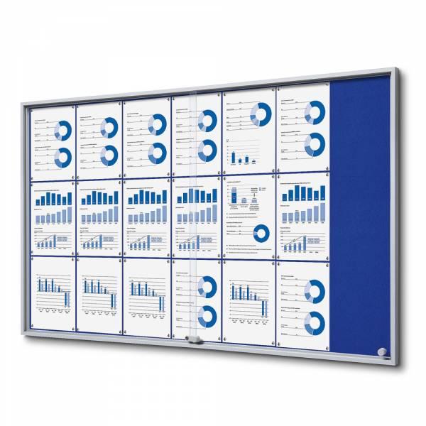 Interiérová vitrína 21xA4 SLIM, posuvné dvere, filcová zadná stena modrá