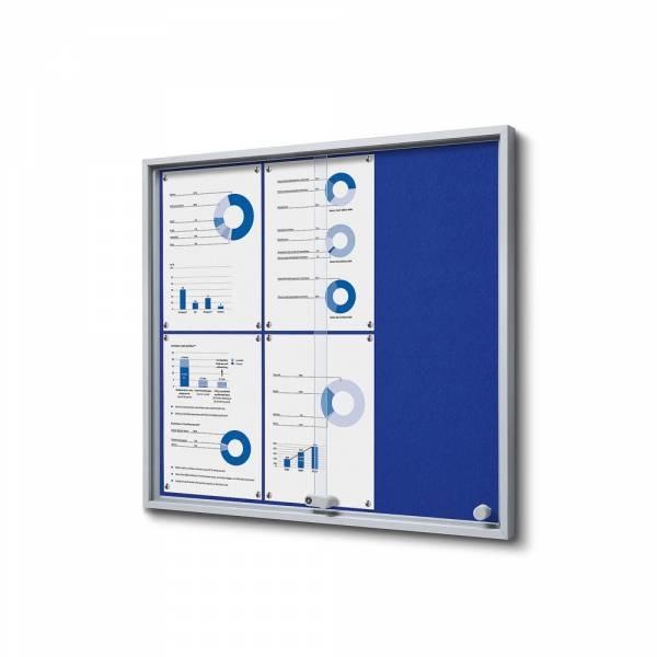 Interiérová vitrína 6xA4 SLIM, posuvné dvere, filcová zadná stena modrá