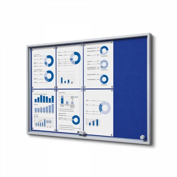 Interiérová vitrína 8xA4 SLIM, posuvné dvere, filcová zadná stena modrá