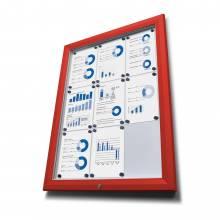 Exteriérová vitrína typu T, rozmer 15xA4, RAL3020 červená