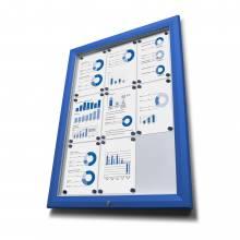 Exteriérová vitrína typu T, rozmer 8xA4, RAL 5010, modrá