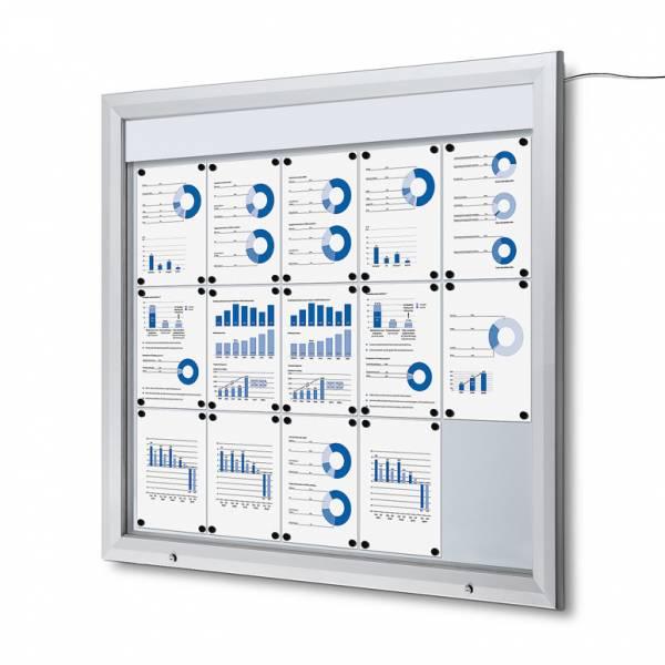 Exteriérová vitrína typu T, rozmer 15xA4, LED osvetlenie