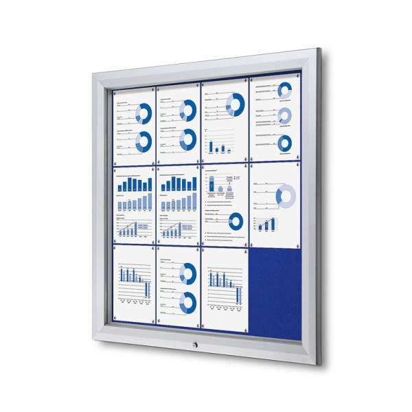 Exteriérová uzamykateľná vitrína typu T, 12xA4, modrá textilná zadná stena
