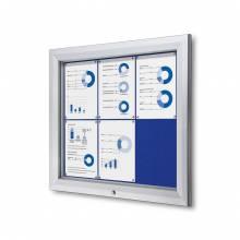 Exteriérová uzamykateľná vitrína typu T, 6xA4, modrá textilná zadná stena