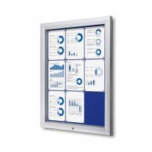 Exteriérová uzamykateľná vitrína typu T, 9xA4, modrá textilná zadná stena