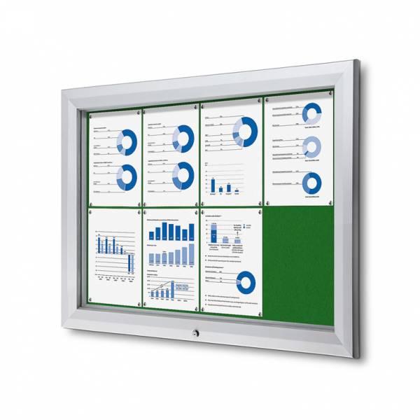 Exteriérová uzamykateľná vitrína typu T, 8xA4, zelená textilná zadná stena