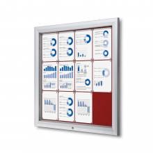 Exteriérová uzamykateľná vitrína typu T, 12xA4, červená textilná zadná stena