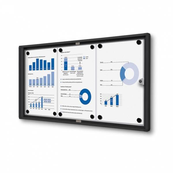 Interiérová vitrína Economy 3xA4 - plechová zadná stena, čierna