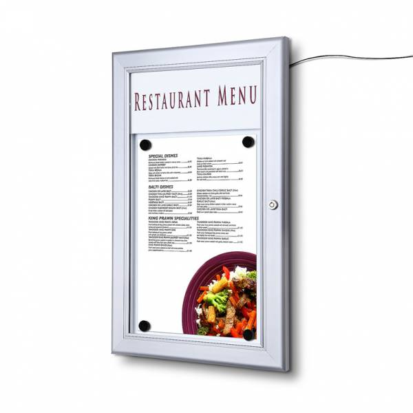 Exteriérová menu vitrína 1xA4, LED lišta