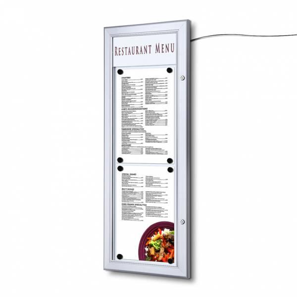 Exteriérová menu vitrína 2xA4 na výšku, LED lišta
