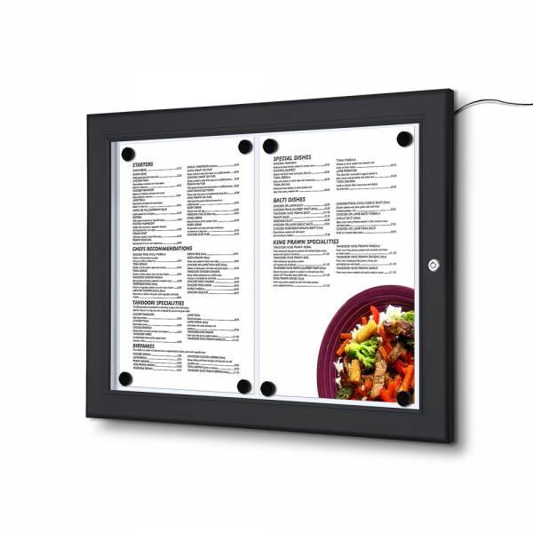 Čierna Menu vitrína 2xA4, osvetlená, bez topkarty