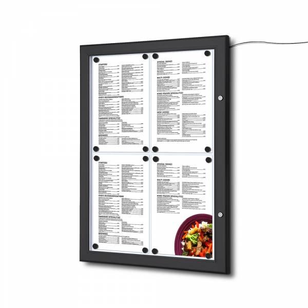 Čierna Menu vitrína 4xA4, osvetlená, bez topkarty
