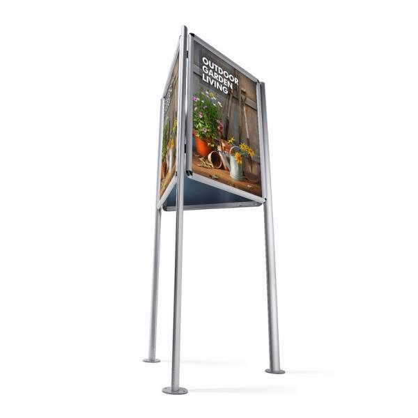 Trojstranný stojan s klaprámom A0, ostrý roh, profil 32mm