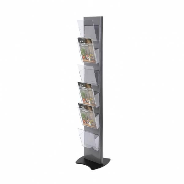 Stojan na letáky Torre, šedý – 6xA4 kapsa