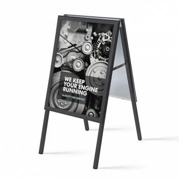 Reklamné áčko 500x700mm, ostrý roh, profil 32mm, plechová zadná stena, čierne
