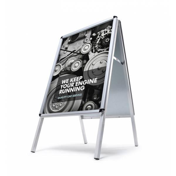Reklamné áčko 700x1000mm, oblý roh, profil 32mm, plechová zadná stena, zvýšená ochrana proti vplyvom počasia