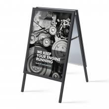 Reklamné áčko A1, ostrý roh, profil 32mm, plechová zadná stena, čierne