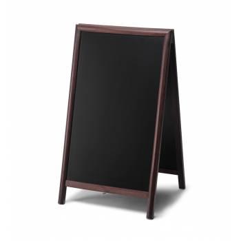 Reklamné drevené áčko s kriedovou tabuľou 68x120, tmavá hnedá